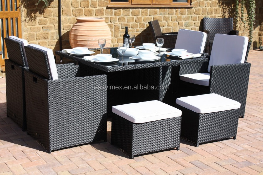 Rattan Garden Furniture 9 pcs Cube Dining Set with Parasol Hole