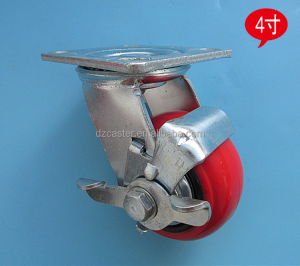 4inch 100mm heavy duty Korea PU swivel caster with plastic core and side brake 6202 bearing