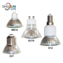 High quality super bright glass cup gu10 mr16 e14 e27 smd 3528 3w 300 lumens non dimmable recessed retrofit halogen spotlight