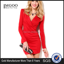 MGOO Latest Fashion Women Red Long Sleeves Dress Ruffles V Neck Bodycon Big Butt Sexy Online Dress Shopping D335