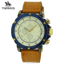 custom blue bezel brown leather watches men
