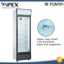 High quality free standing vertical beverage cooler glass door refrigerator with LED light