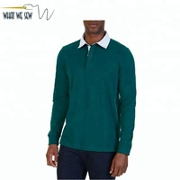 Custom Heavy Cotton Rugby Shirt Dry Fit Long Sleeve Rugby Polo Shirt Wholesale