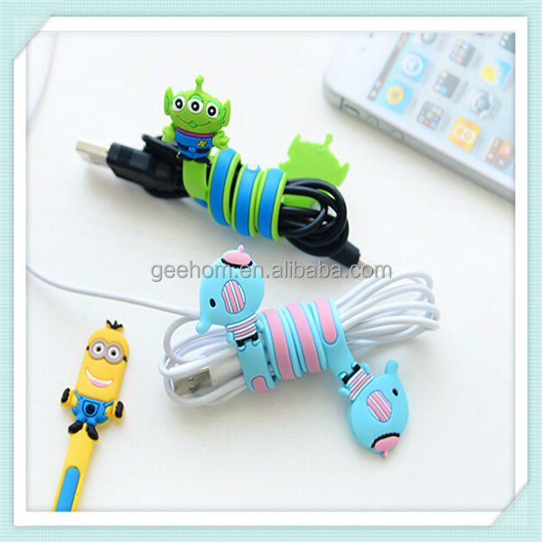 Cute cartoon pvc cable wire organizer, silicone cable winder