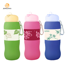 Hot sell BPA free silicone water bottle Eco-friendly squeeze sport bottle folding travel bottle