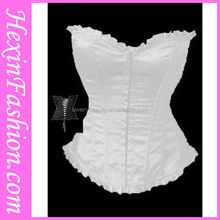 Wholesale Embroidered Burlesque Zipper Front White Sexy Tight Corset