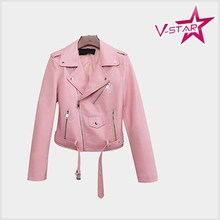 custom Women Slim Fitted Faux Leather Punk Biker Motorcycle Jacket