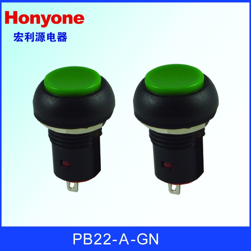 Honyone PB22 Series Green Cap High Cap reset switch momentary round red button switch on off 2A 125VAC Push Button Switch