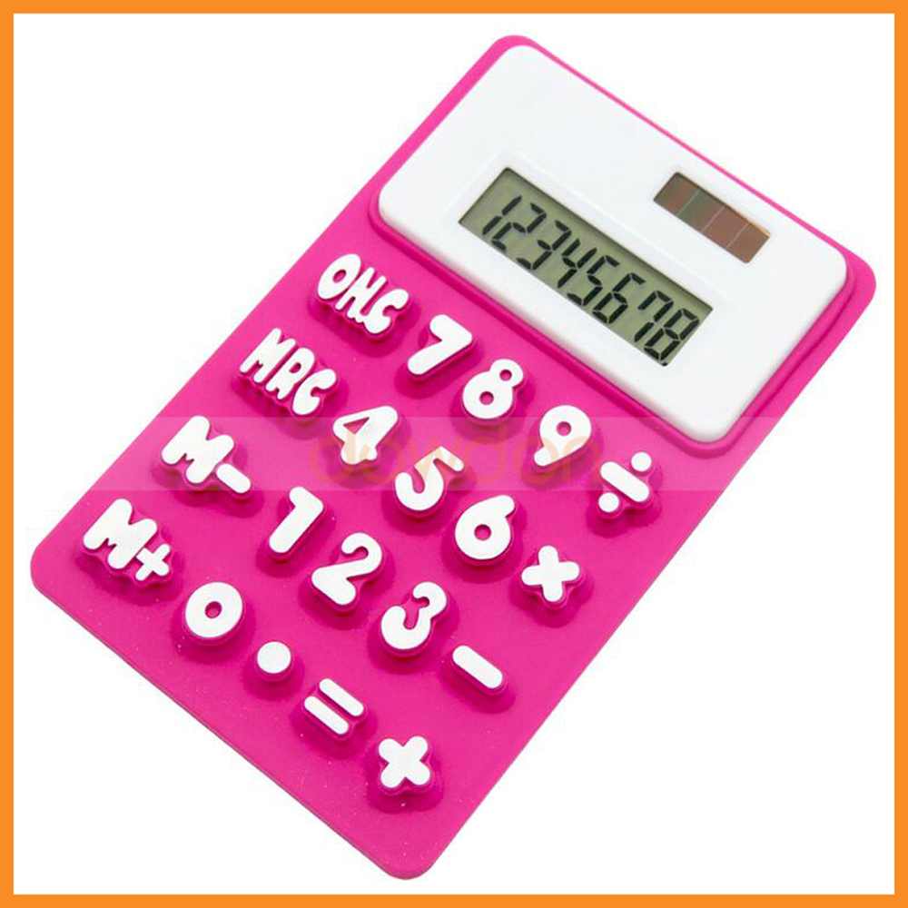 Ultra-thin Slim Soft Silicone Solar Power Pocket Calculator
