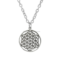 Simple silver flower of life pendant new age charms necklace jewelry