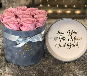 2019 Grey eternal rose preserved flower velvet round rose box