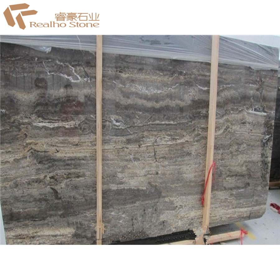 Turkey Polished Silver Grey Travertine Slabs And Tiles