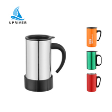 stainless steel car cup custom gift advertising mug promotion sales travel coffee with handel plastic lid