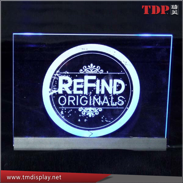 Manufacturer Led Lighted Acrylic Signs and Photo Sculptures, Acrylic LED Edge Lit Sign with Aluminium Base
