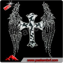 Bling Iron on Wings Hot Fix Cross Rhinestone Transfer Motif Designs for Clothes