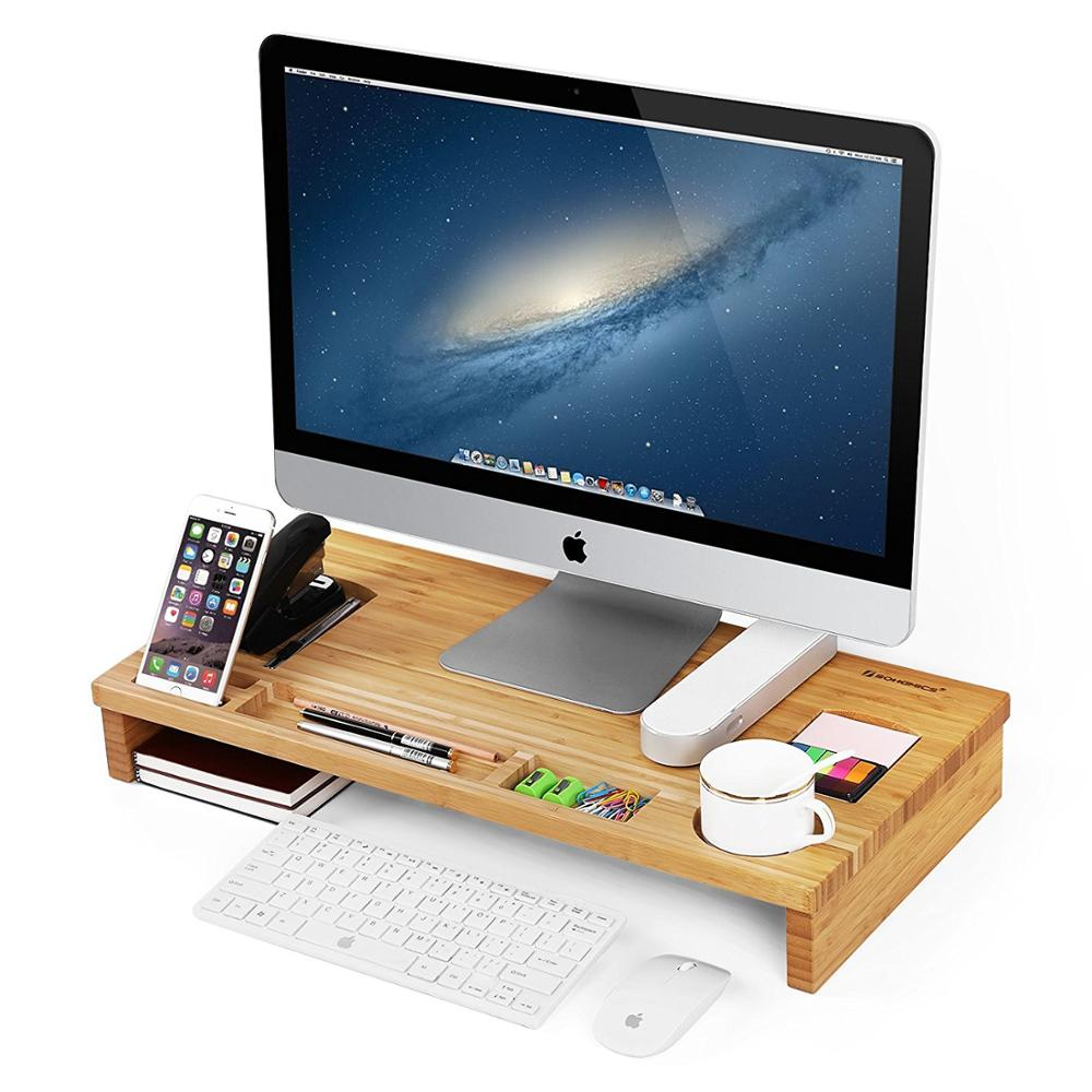 Durable Bamboo Wood Monitor Riser Laptop Stand with Storage Organizer