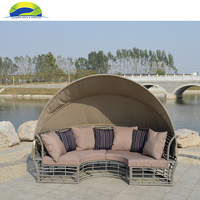 Sunbed Rattan Outdoor Canopy Furniture for Garden