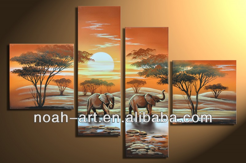 African animal Elephant group oil painting for wall decoration