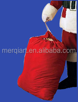 Factory direct sell Costume polyester Santa sack with branded logo
