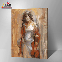 2016 wholesale hot sexy girl with guitar for painting by numbers diy on canvas artwork in china yiwu