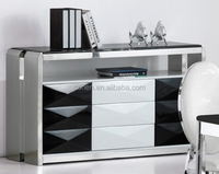 F2195 Stainless steel dining cabinet with marble top