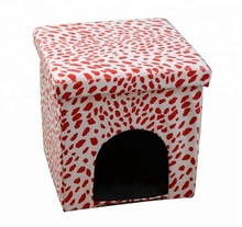 Indoor Foldable Leather Dog Cat Pet House Ottoman