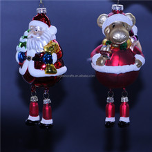 Hand Blown Glass Santa Claus Bear Ornament,glass figure shaped ornament for christmas decoration