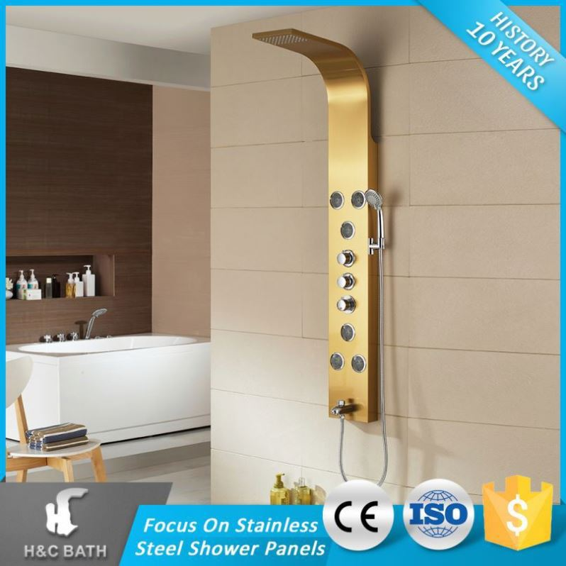 Panel With Display Column Chrome Stainless Steel Exposed Shower Faucets