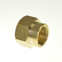 "Red Brass Pipe Fitting, Reducing Coupling, 1/4"" x 1/8"" Female Pipe"