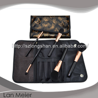 synthetic hair and shiny black wood handle 5pcs makeup brush set with Pvc Leather bag