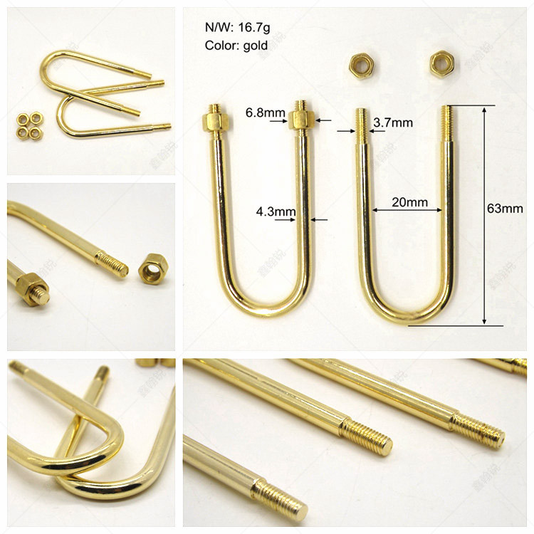 Wholesale Golden U clip with screw calendar accessories for loose leaf binding ID 20mm