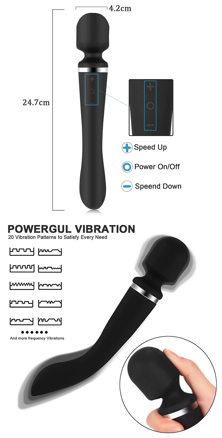 Double head vibrator female rechargeable silicone AV bar adult products