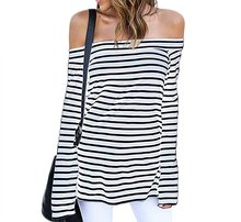 Women Off The Shoulder Striped Long Sleeve Slim Casual Blouse Tee