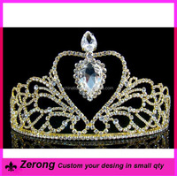 Ladies rhinestone wedding gold tiaras comb bridal gold tiara crowns