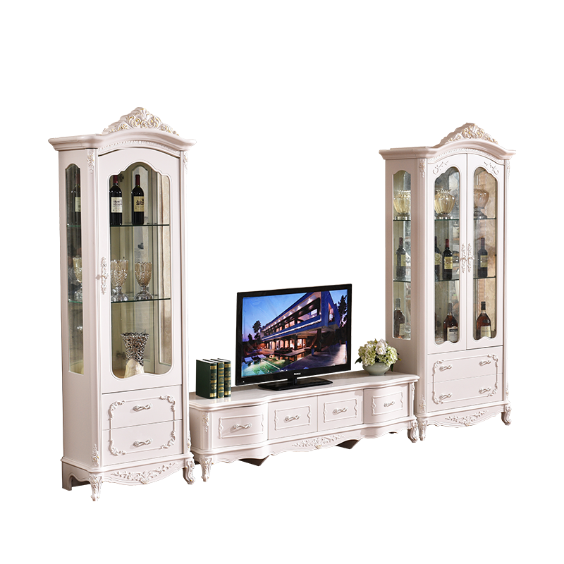White Luxury One Two Door Wooden Display <strong>Cabinet</strong> Designs for Living room