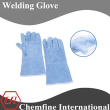 Bule cow split leather long sleeve one piece back welding glove
