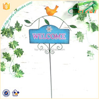 Garden stake Welcome sign with bird stick Metal and wooden sign stake