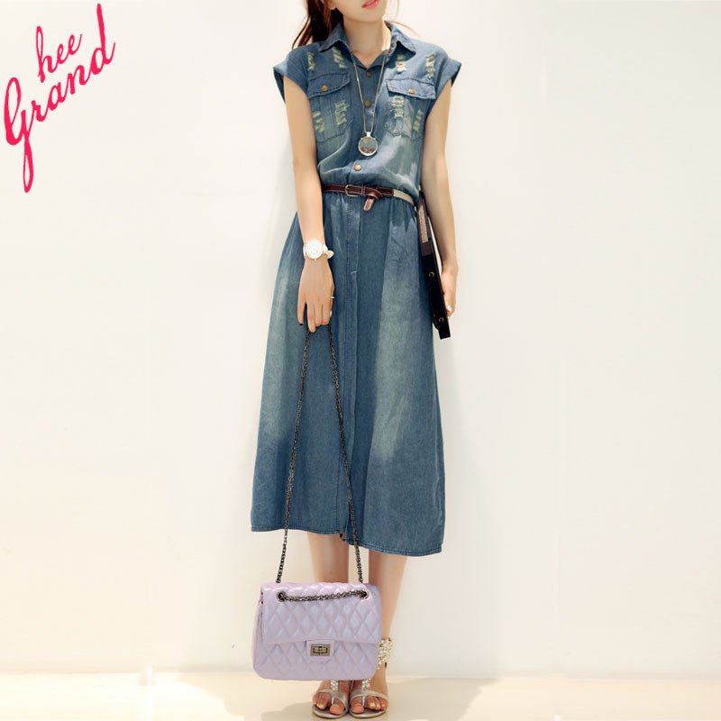 2015 New Arrival Women Summer Dress Casual Turn-down Collar Short-sleeve Denim Mid-calf Dresses Plus Size Vestidos WQS495