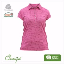 Bulk fancy merino wool custom short sleeve golf 100% polo women t-shirt