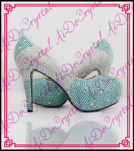 Aidocrystal Lady newest high quality platform high heel crystal rhinestone shoes women 2016