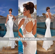 Custom 2016 Sexy Mermaid Sweetheart Sleeveless Open Back Floor-length Wedding Dresses with Removed Train ,Bridal Gown Hot sale