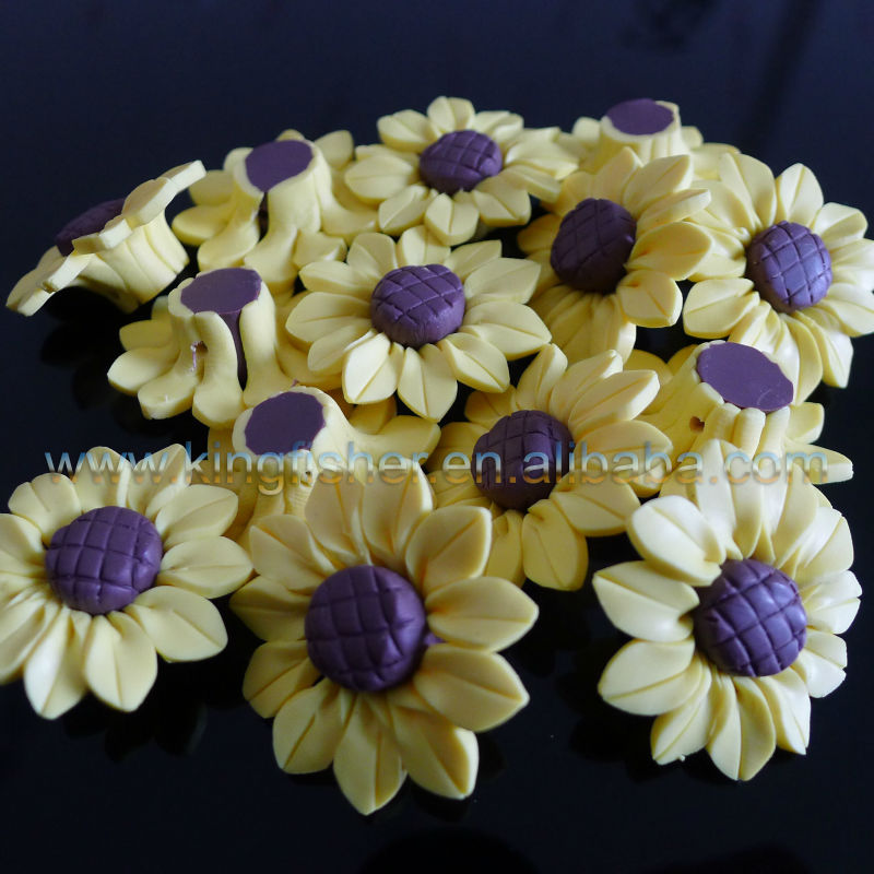 30mm Bright yellow colors sunflower shape ceramic clay beads wholesales for jewelrys.