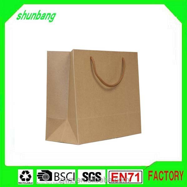 2015 low cost recycled brown blank kraft paper bag for gift