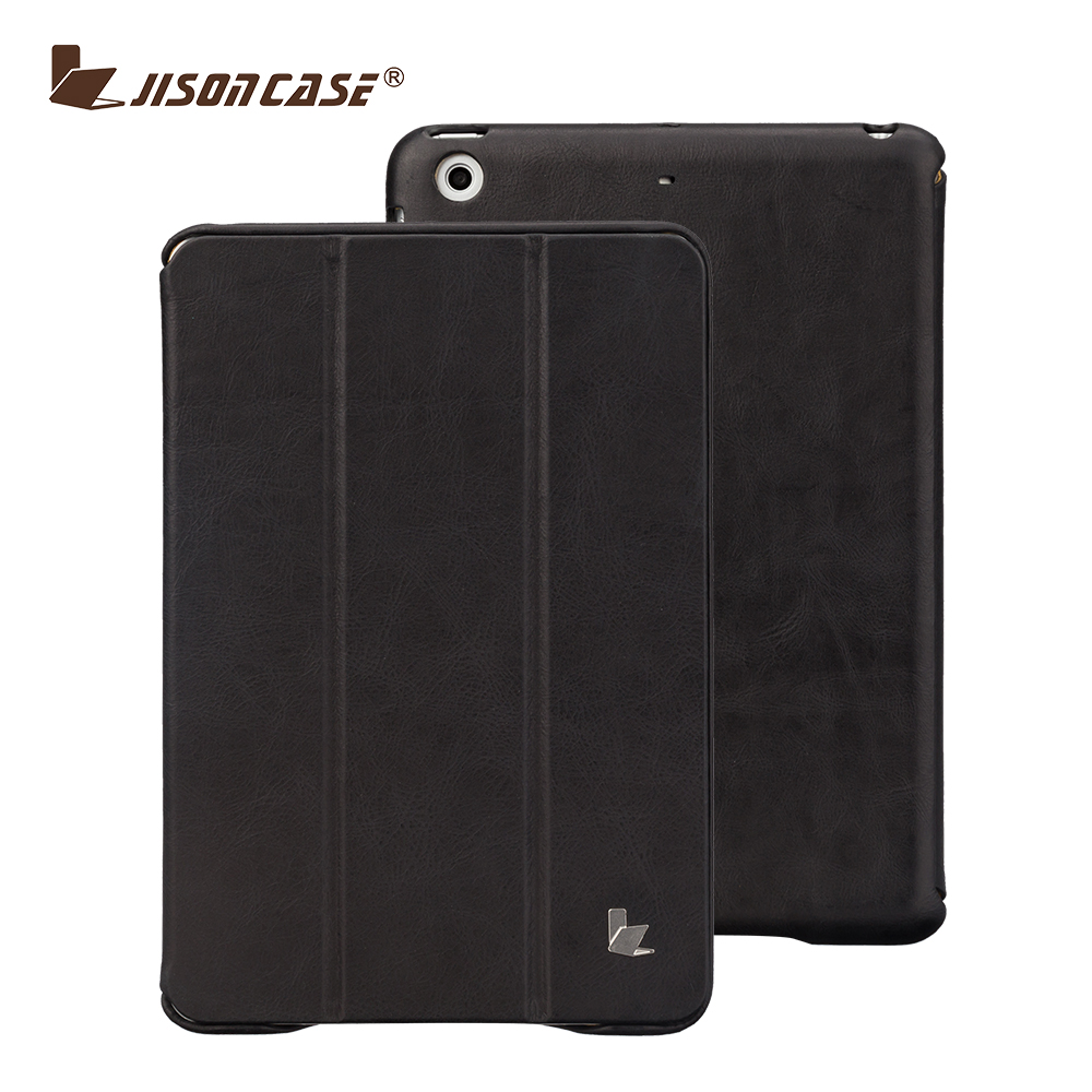 Jisoncase Luxury Vintage Leather Smart Case for iPad Mini 2 Retina Genuine Leather Case with Smart Sleep and Wake Up
