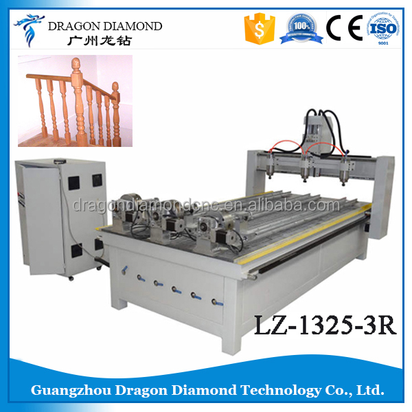 LZ-1325-3R three rotation 3d Cnc Router,three heads router cnc machine price