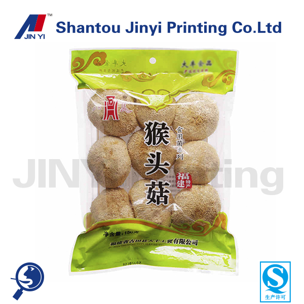 Clear Printed fresh vegetable packaging bag with vent hole