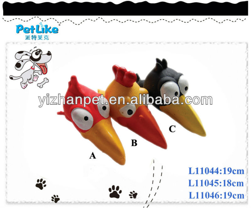 latex bird head pet toy with cartoon design with big eyes