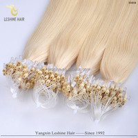 Golden Supplier Private Label Top Quality 0.5g 0.8g 1g Keratin Glue No Tangle Remy micro rings loop wavy hair extensions