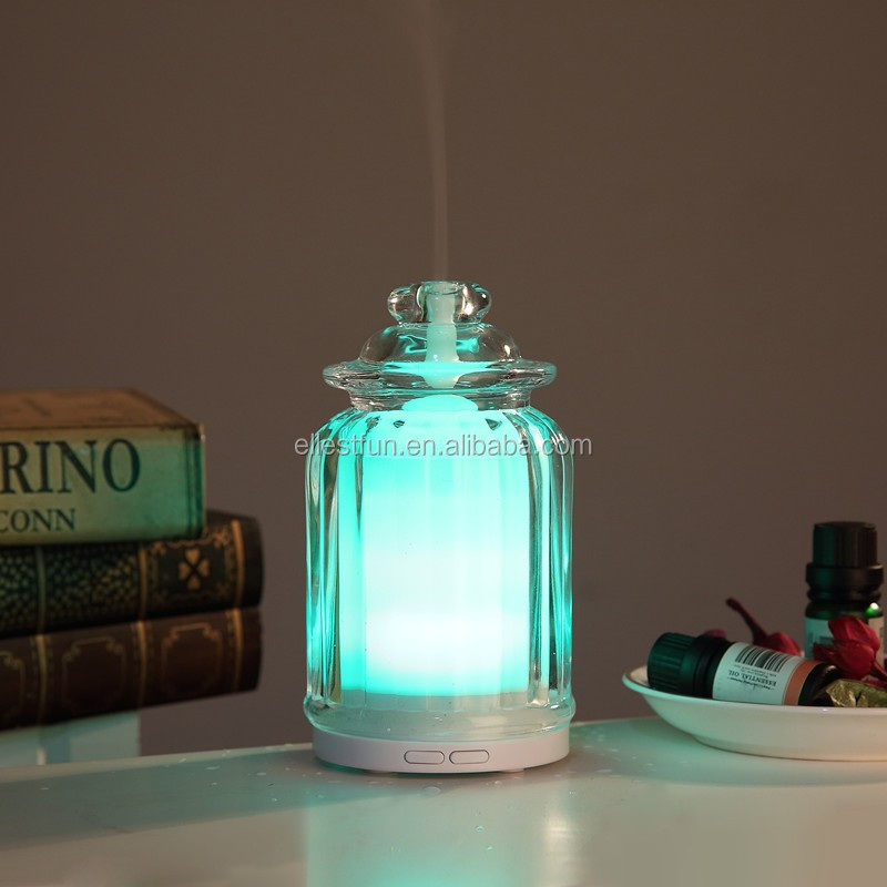 Beauty care USB spa glass aroma humidifier with light effects
