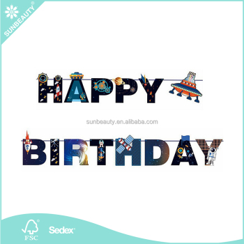 Wholesale DIY UFO Galaxy Outer Space Happy Birthday Banner Alien Banner Space and Astronaut Birthday Parties Sunbeauty